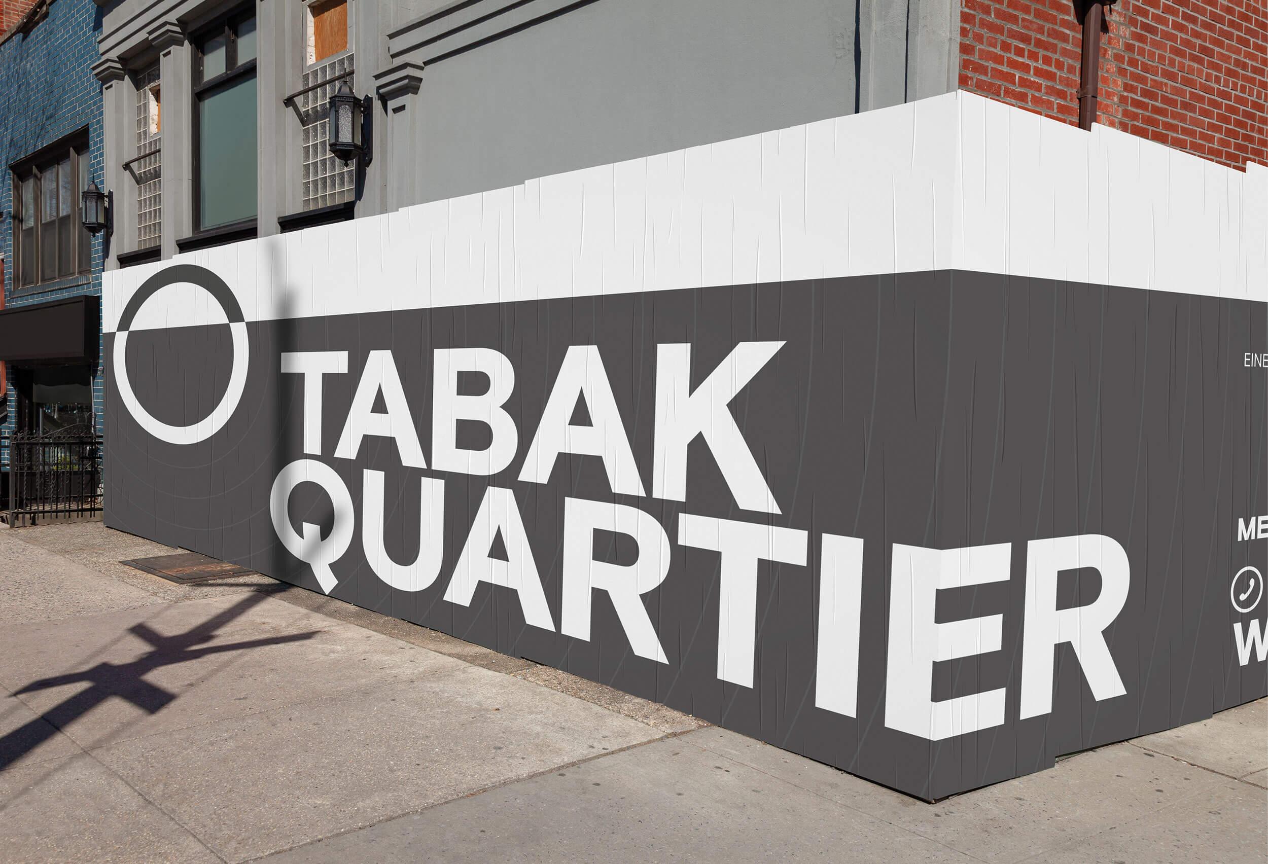 Mockup einer über eine Häuserecke laufenden Werbung des Tabakquartiers