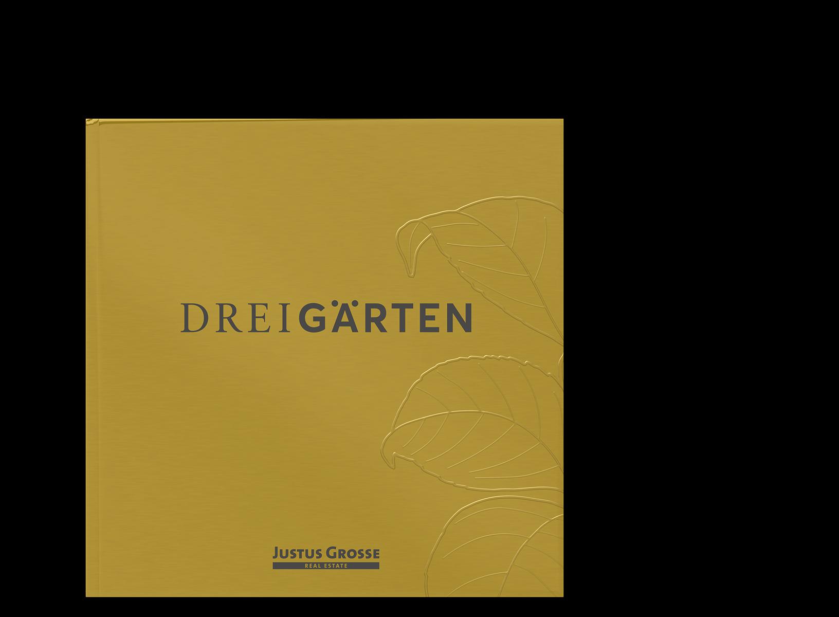 Mockup des Drei Gärten Exposés, Cover des Zusatzhefts