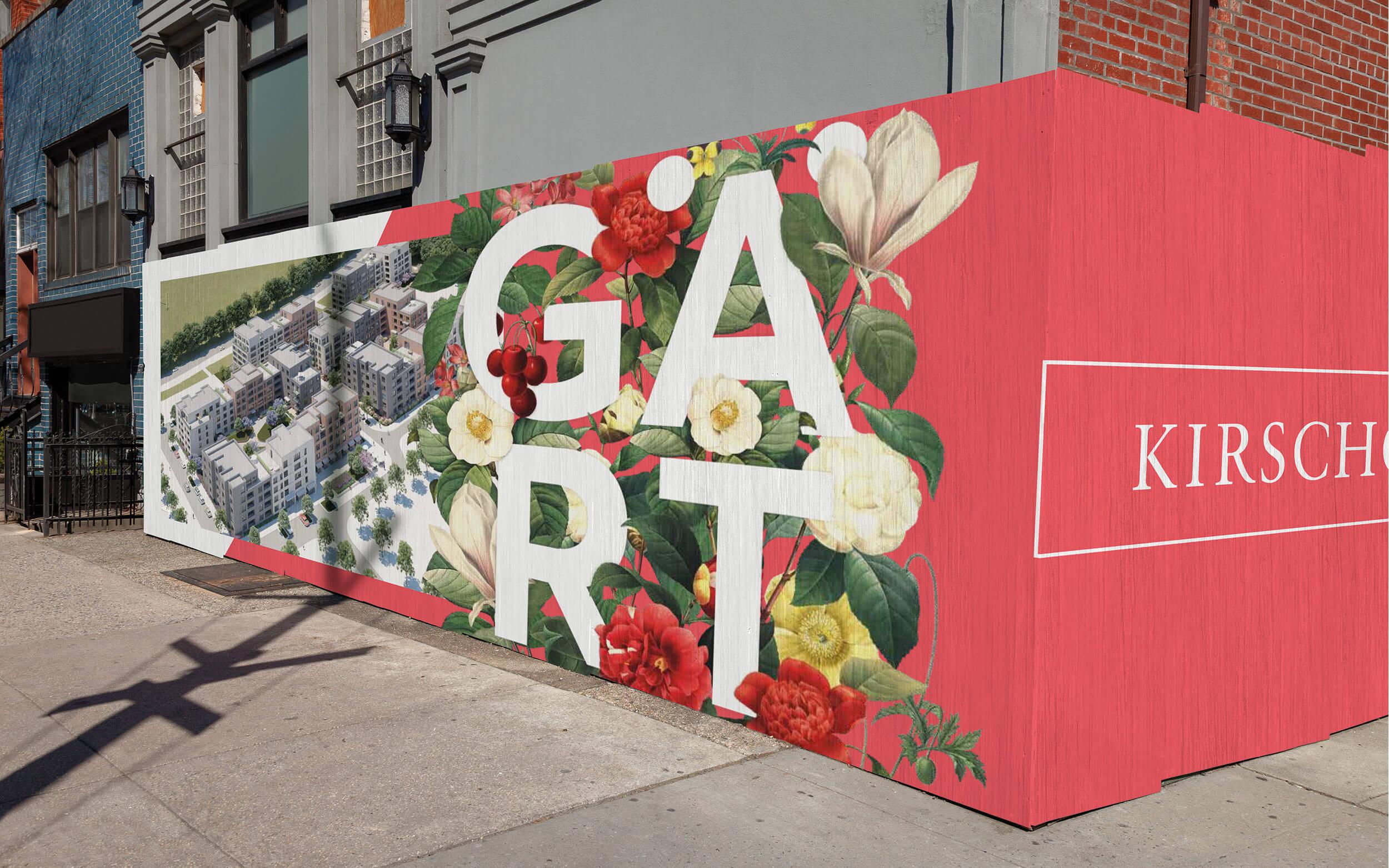 Mockup einer Werbung für die Drei Gärten, die über eine Häuserecke läuft