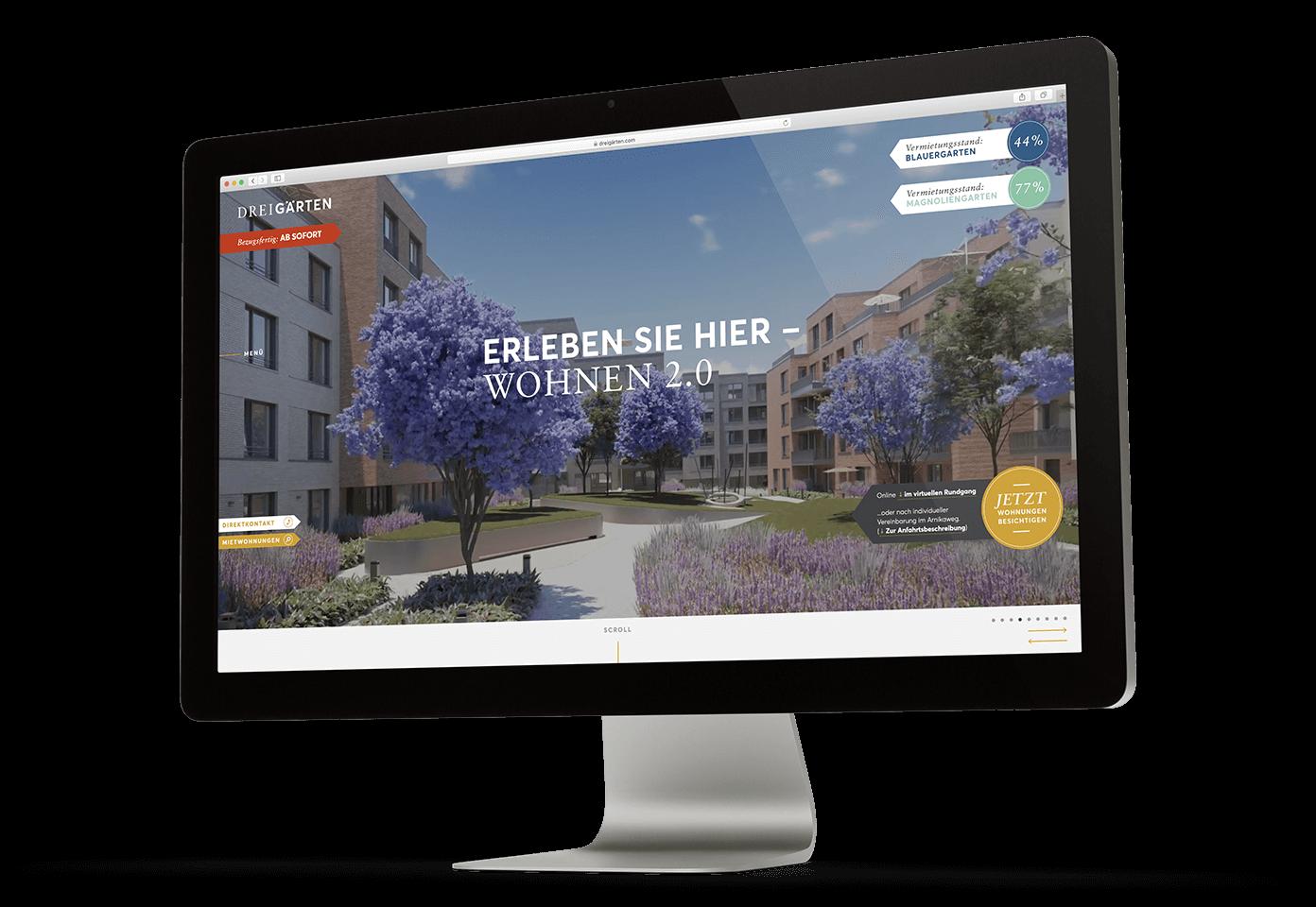 Mockup eines Desktops mit der geöffneten Drei Gärten Website