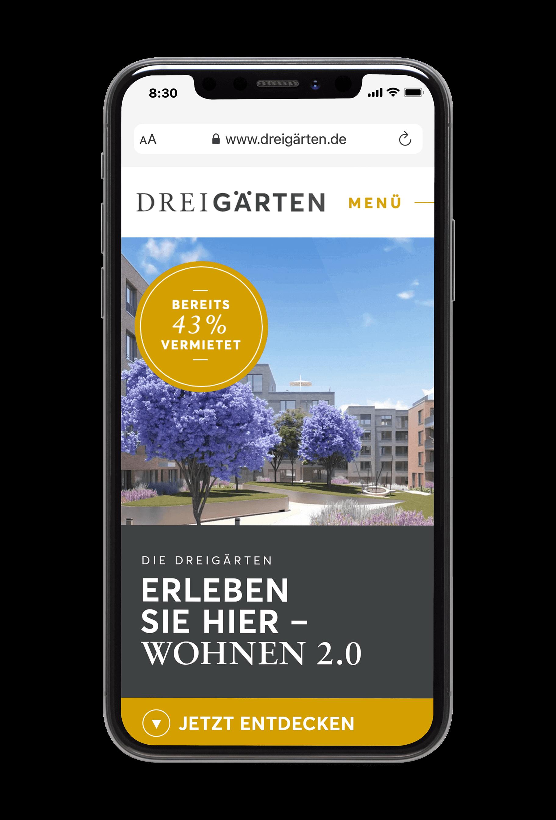 Mobile Mockup mit der Drei Gärten Website