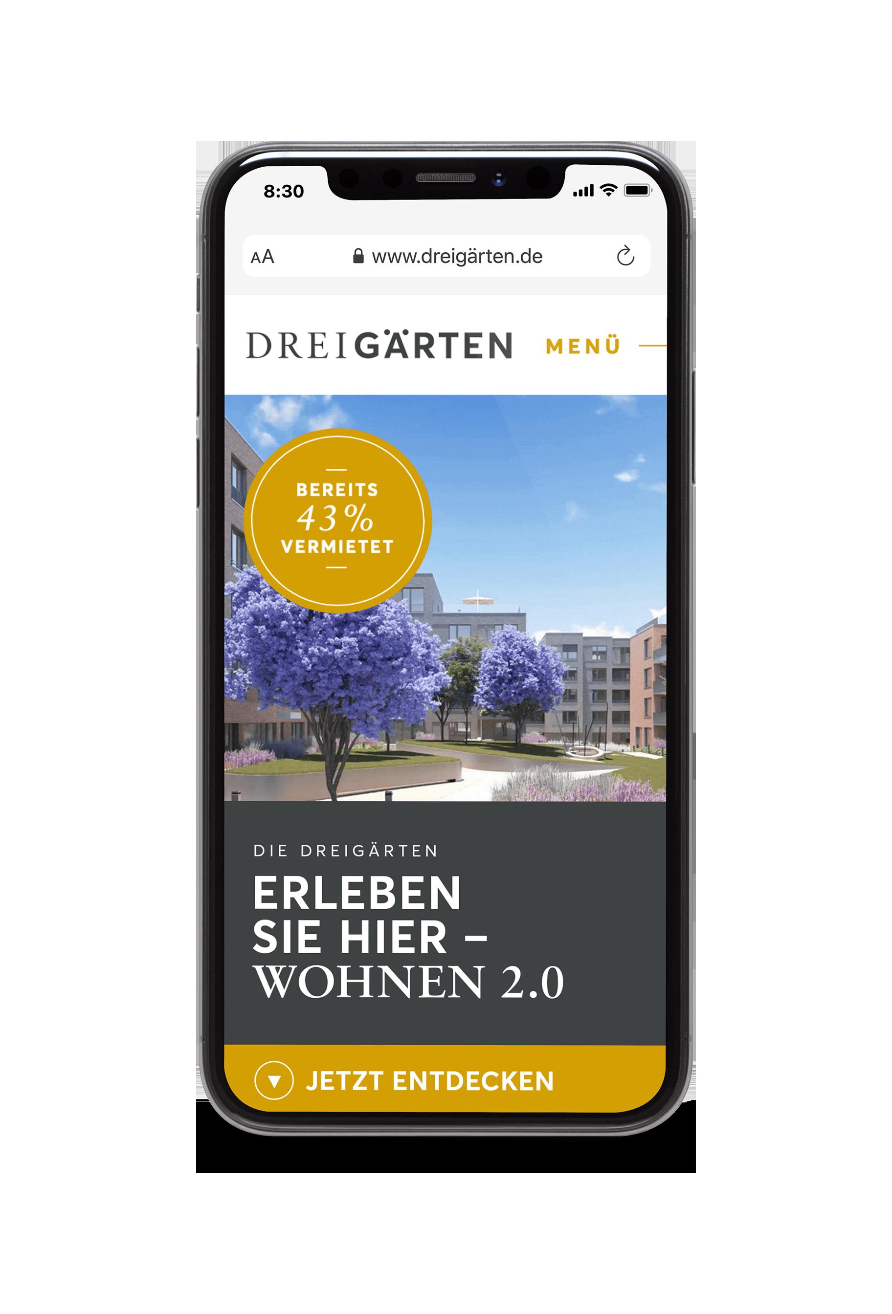 Mobile-Mock-up der website Drei Gärten
